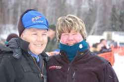 Jamie Nelson & Karen before the 2006 Iditarod Restart